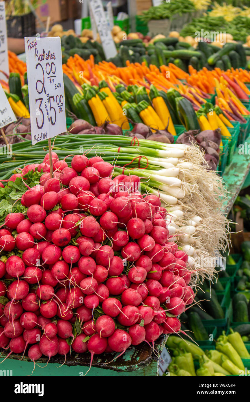 A farmer's display at a street market shows off fresh radishes, green onions, zucchini, beets and other veggies in the daylight. Stock Photo