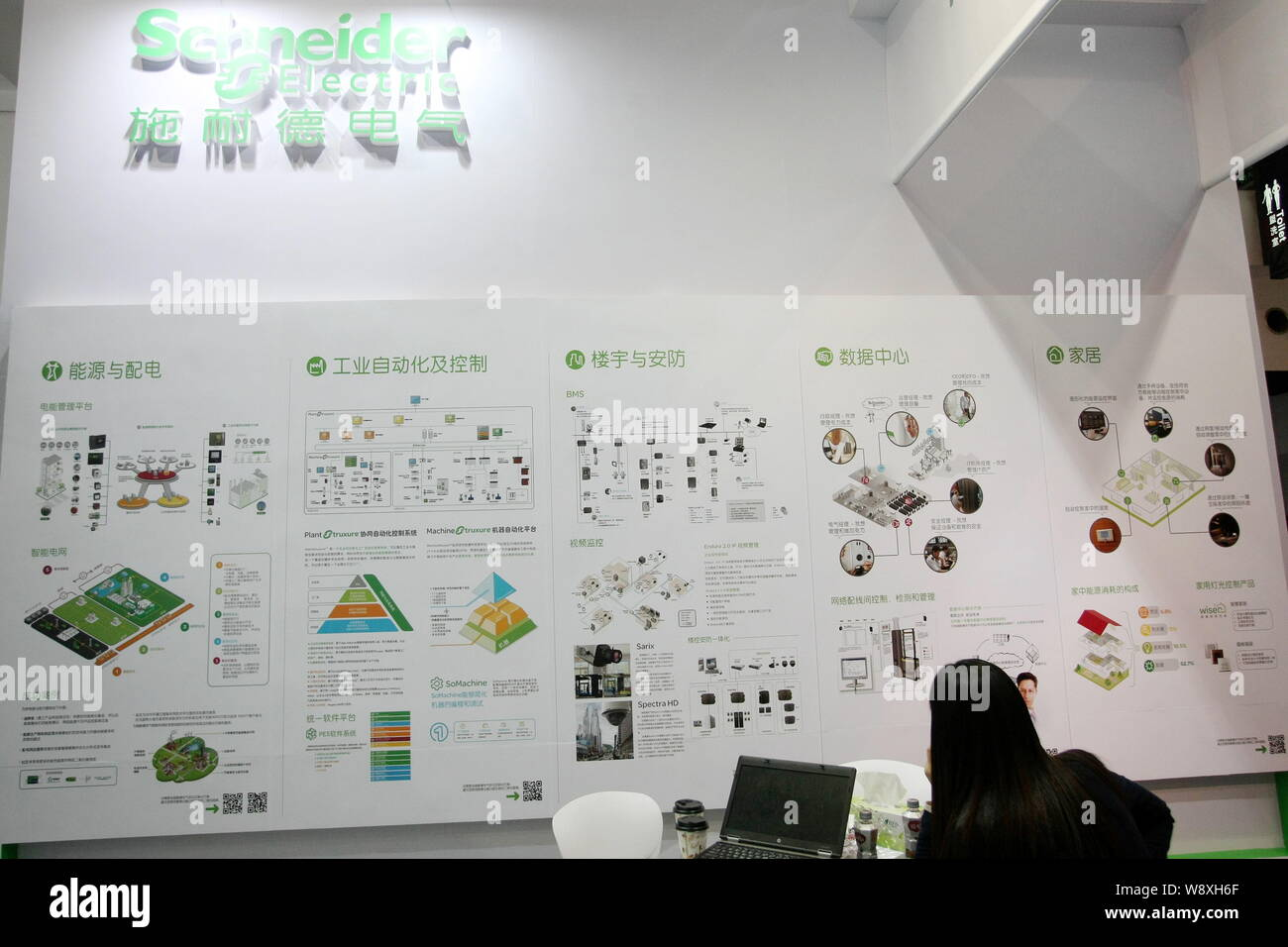 FILE--A visitor is seen at the stand of Schneider Electric