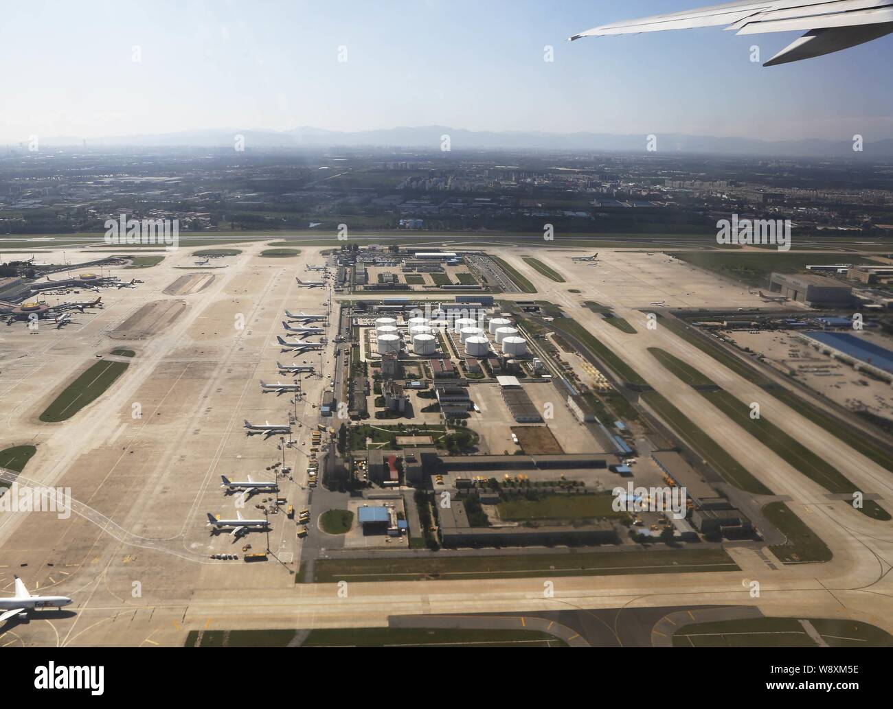 --FILE--Aerial view of the Beijing Capital International Airport in Beijing, China, 10 September 2013.   China¯s top economic planning agency approved Stock Photo