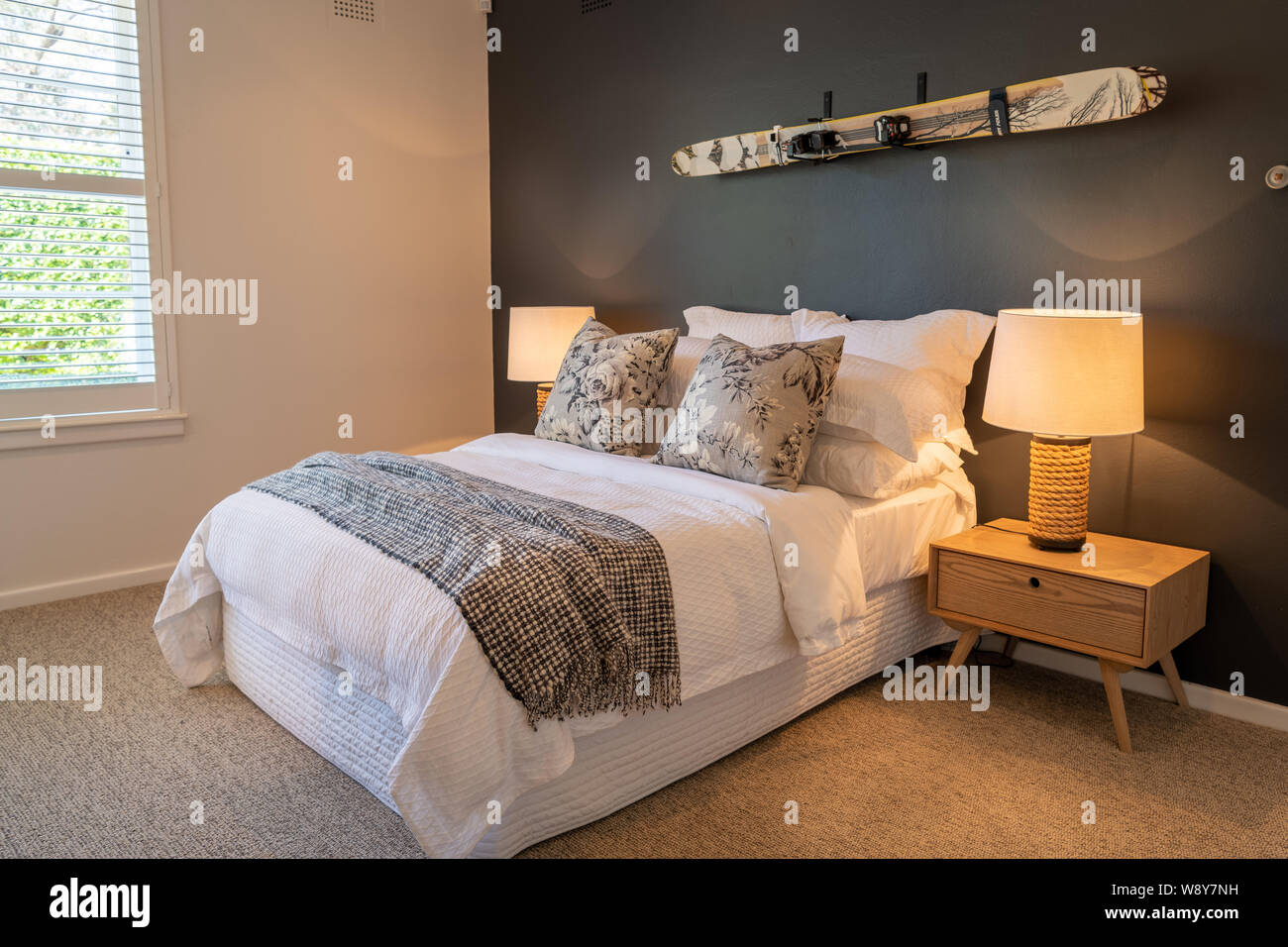Luxury Bedroom In A Domestic Home Decorated With Side Lights