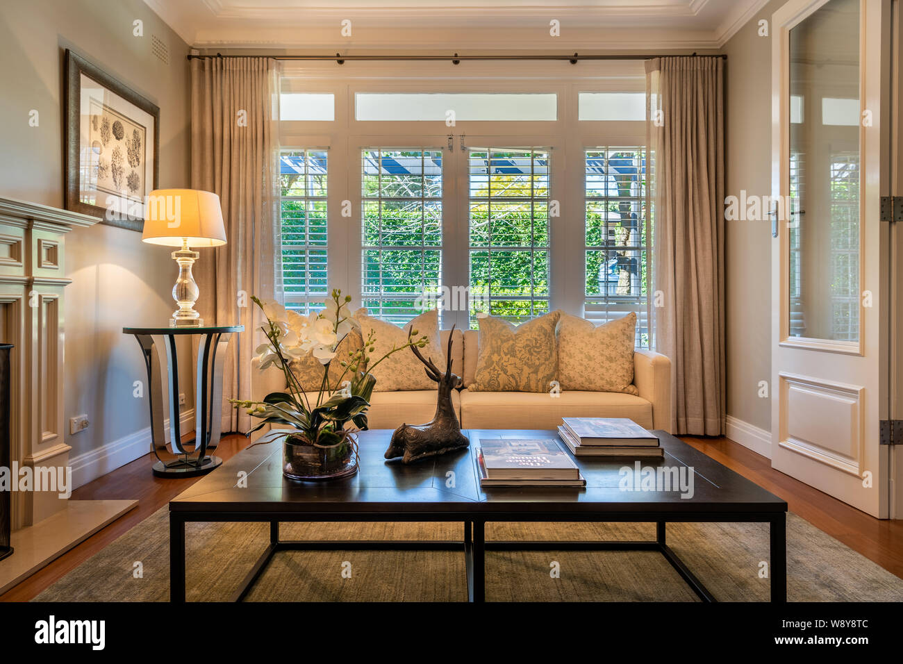 Luxury Lounge Room In A Stylish Domestic Home With Sofa Coffee Table Lamp Rug Fittings And Decorations Stock Photo Alamy
