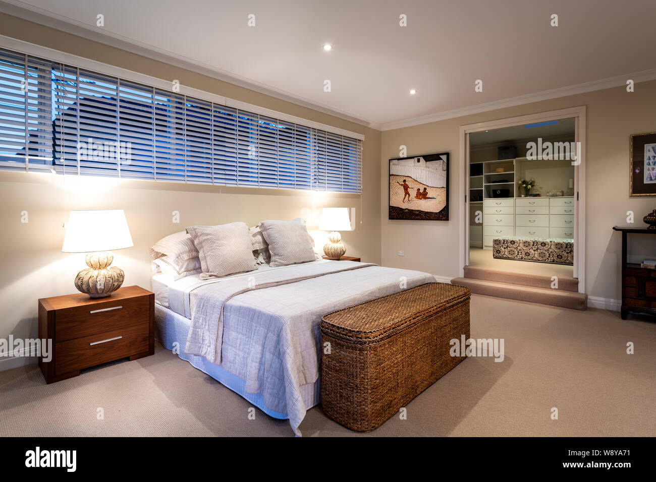 Sydney Australia August 1 2019 Modern Luxury Master Bed Room With Bed Side Tables Lamps Down Lights And Walk In Robe Real Estate Stock Photo Alamy