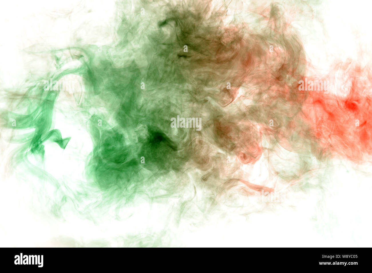 Abstract distortion of the process of mixing two substances of green and red in the form of a wavy pattern of smoke or ink. Print for clothes. Disease Stock Photo