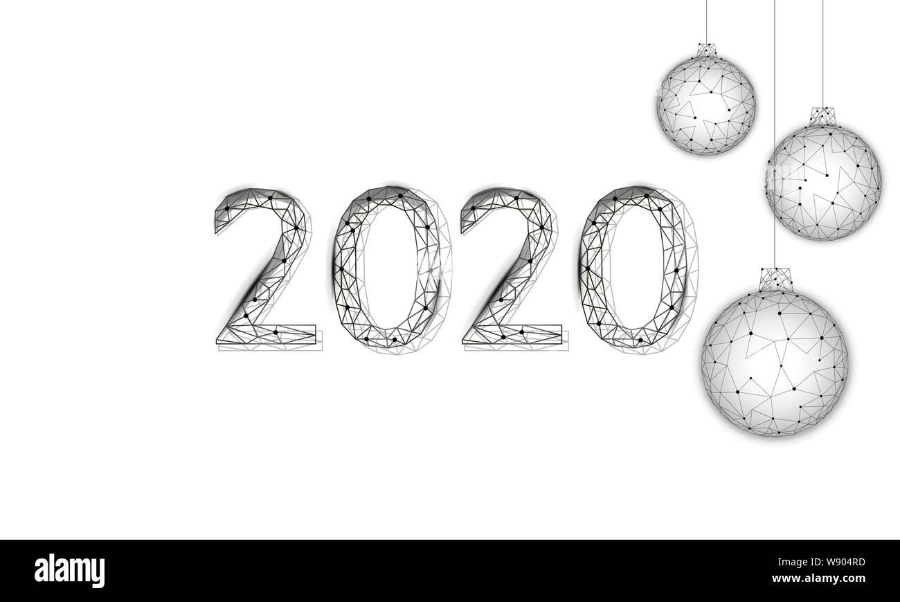Black And White Christmas 2020 Low poly 3D Christmas tree balls holiday greeting card. Happy new