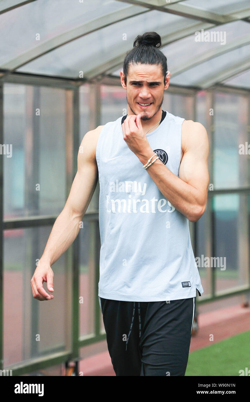 Edinson Cavani Of Paris Saint Germain Football Club Attends A Training Session Ahead Of The French Super Cup Soccer Match Against Guingamp In Beijing Stock Photo Alamy