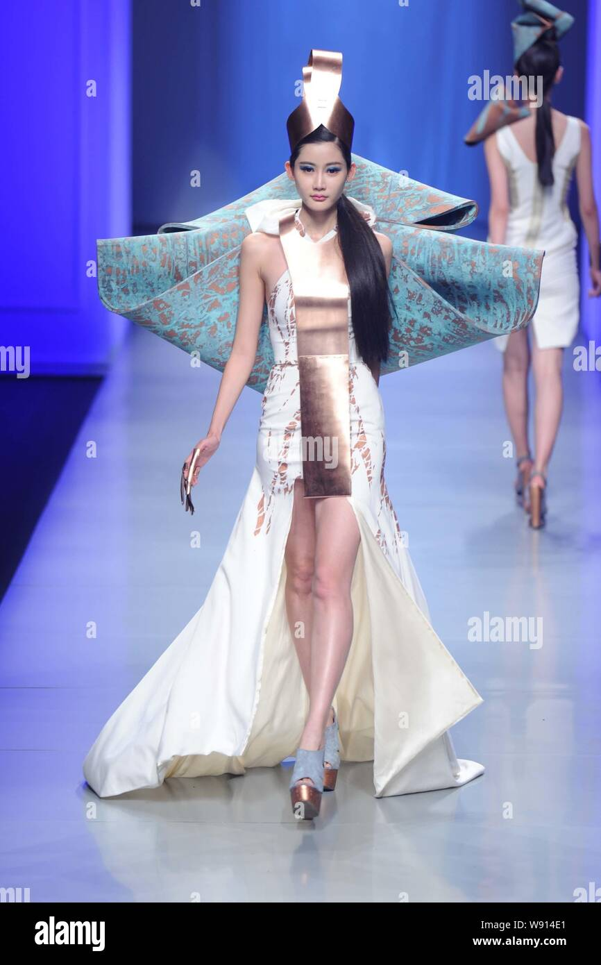 A Model Displays A New Creation At The 22nd Hanbo Cup International Young Fashion Designers Works Competition During The China Fashion Week Fall Winte Stock Photo Alamy