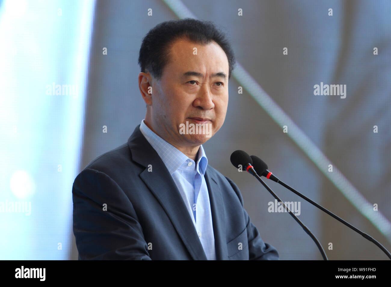 FILE--Wang Jianlin, chairman of Dalian Wanda Group, speaks