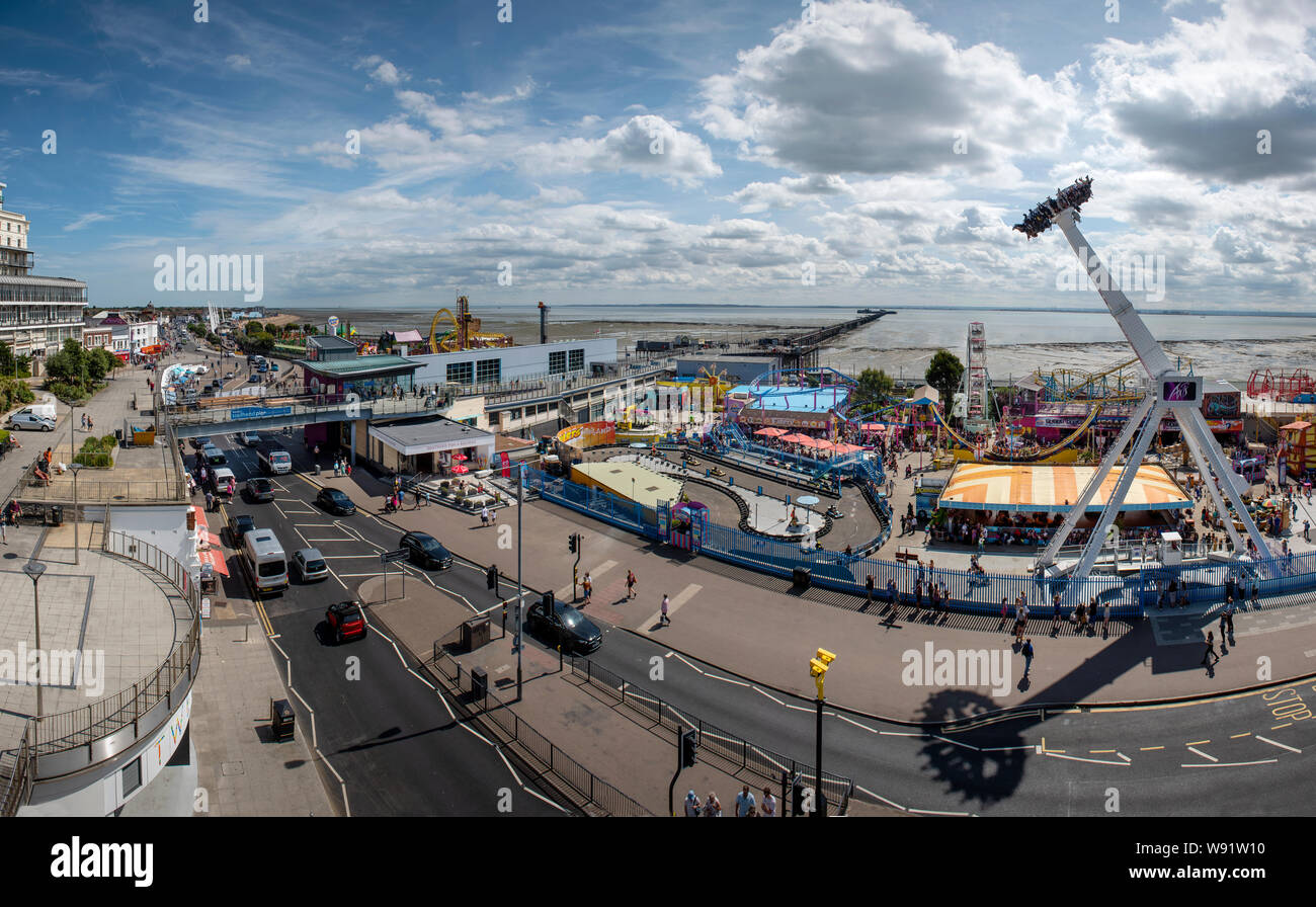 Southend on Sea Essex England UK 8 August 2019 Southend lies at the estuary of the River Thames in south Essex, England UK. A popular seaside resort f Stock Photo