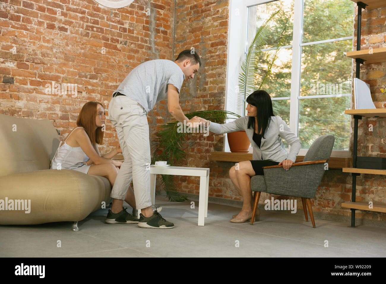 Couple In Therapy Or Marriage Counseling Psychologist