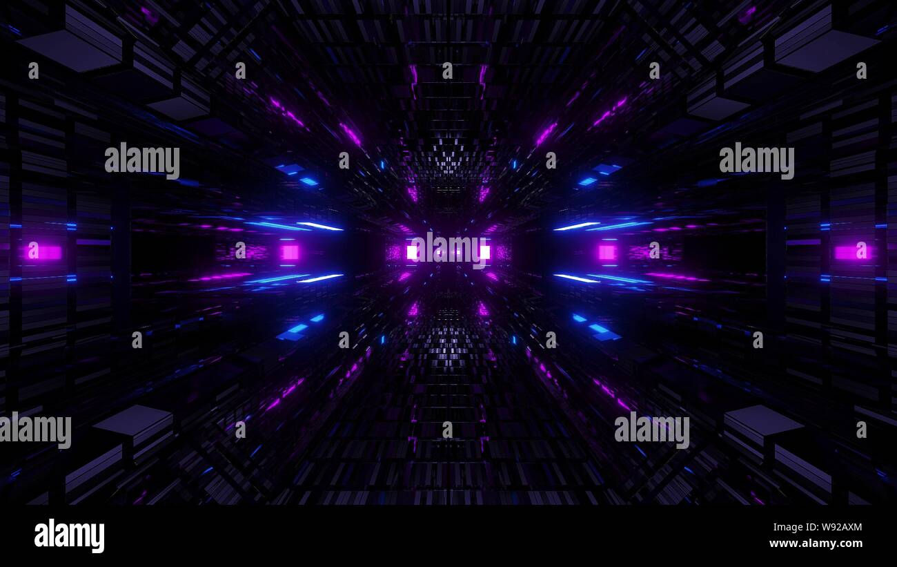 textured scifi glitter tunnel corridor wallpaper background 3d illustration W92AXM