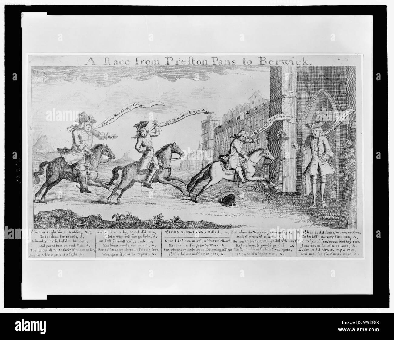 A  Race from Preston Pans to Berwick Abstract: Print shows General Sir John Cope and two other British officers riding to the gates of Berwick and announcing the defeat of British forces at Prestonpans by the Scots under the leadership of Charles Edward Stuart. The test under the image ridicules Cope's behavior during the battle. Stock Photo