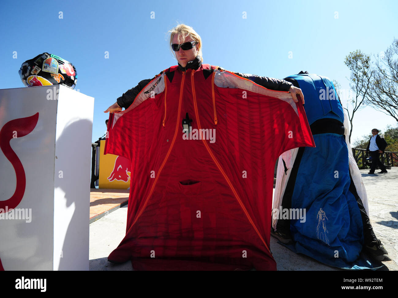 Competitors Prepare To Jump Off The Cliff During A Training Of The Second Wingsuit Flying World Championship On Tianmen Mountain In Zhangjiajie Centr Stock Photo 263750556 Alamy
