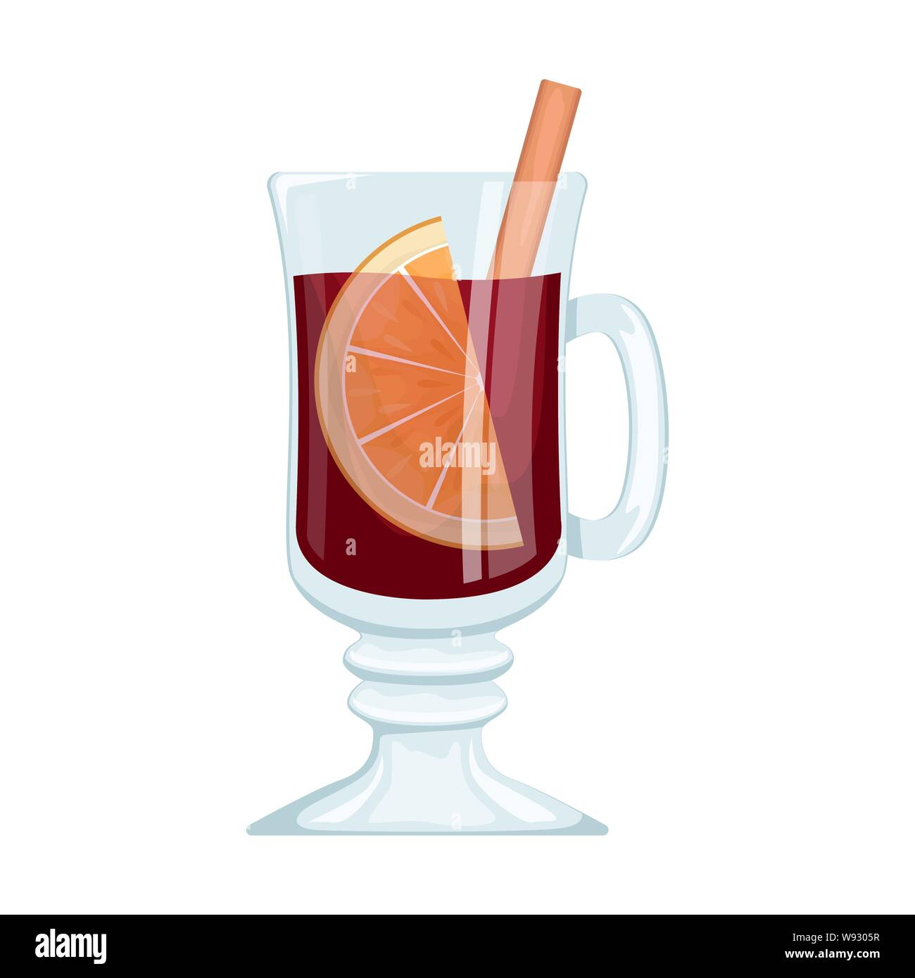 Red mulled wine in a Cup with orange slices and spices. Winter alcoholic drink. Vector illustration. Stock Vector