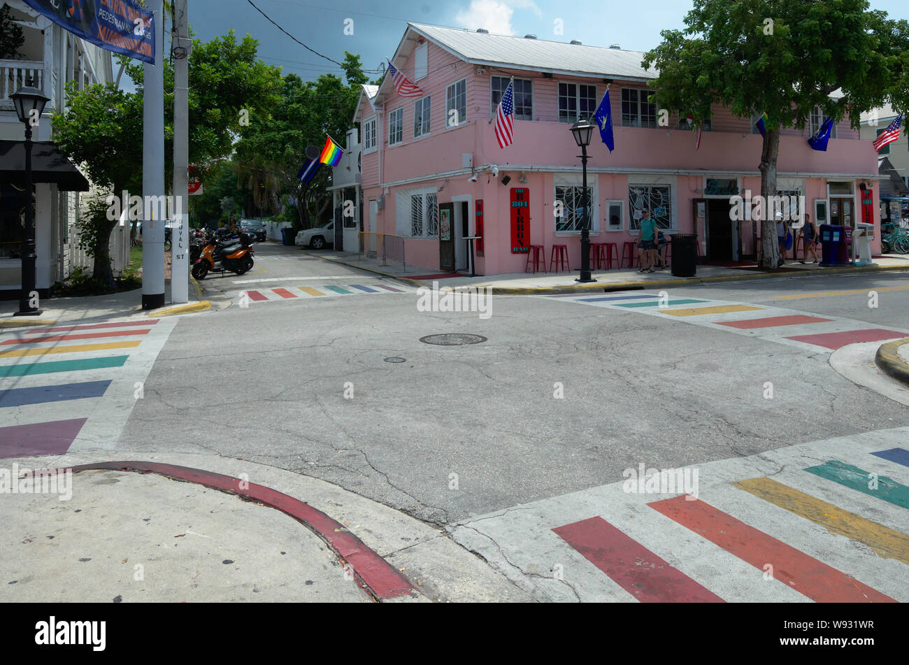 Rainbow cross roads on Duval Street, Key West, Florida. Stock Photo