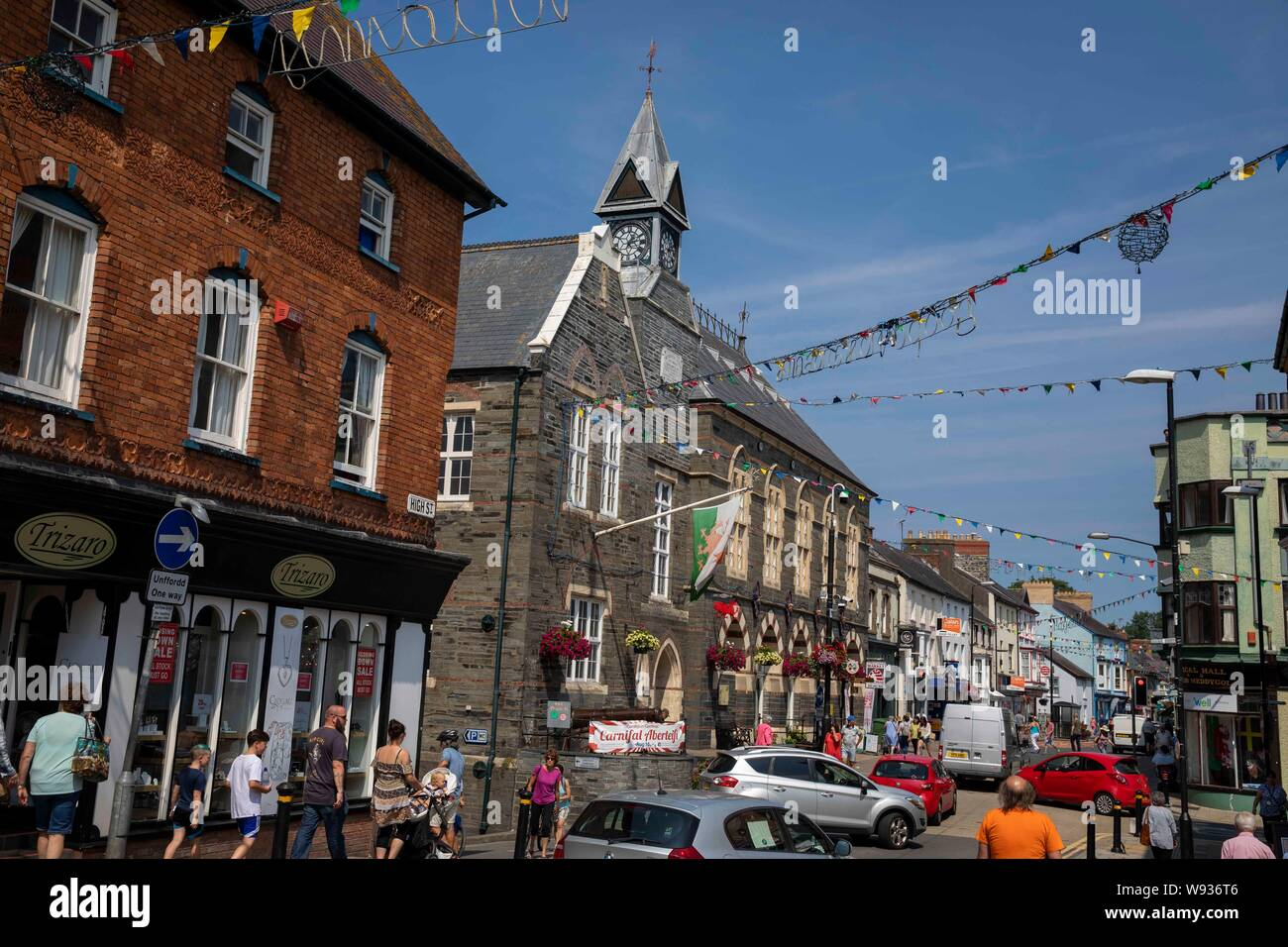 The Town Hall and high street in the centre of Cardigan, Ceredigion, August 2019. Stock Photo
