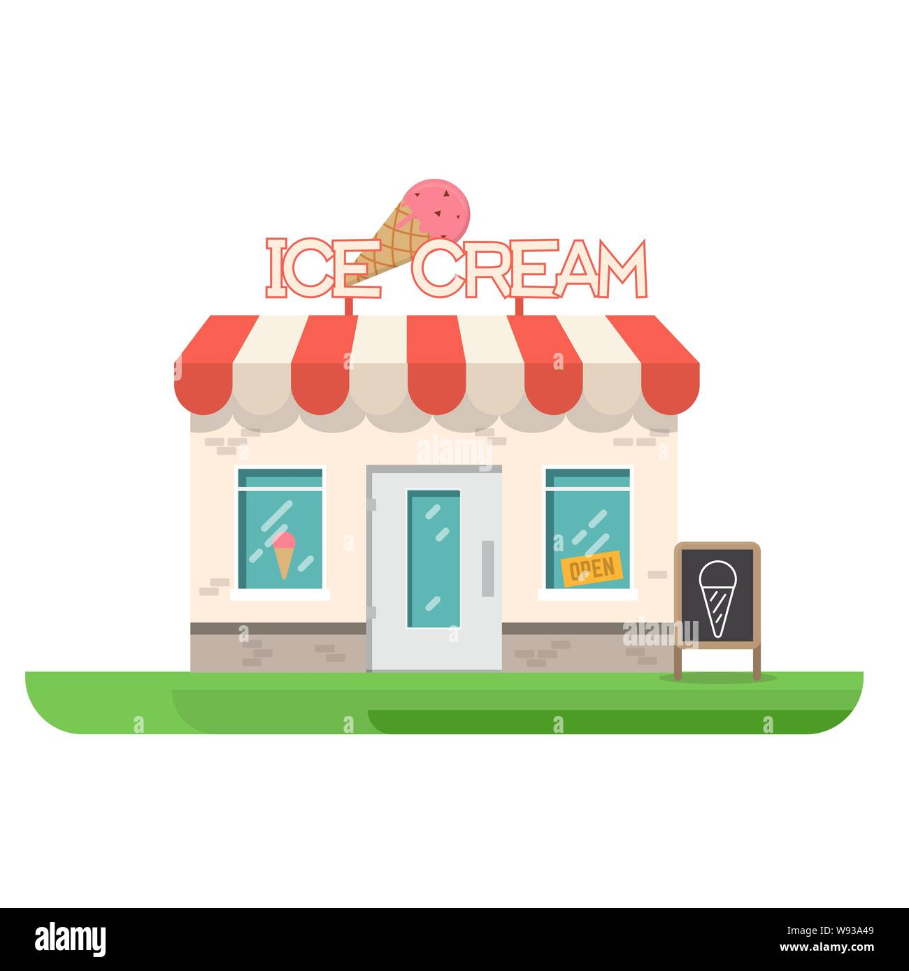 Ice Cream Store Building Store Building Near Park And City Restaurant With Ice Cream Flat Vector Illustration Trendy Retro Color Style Stock Vector Image Art Alamy