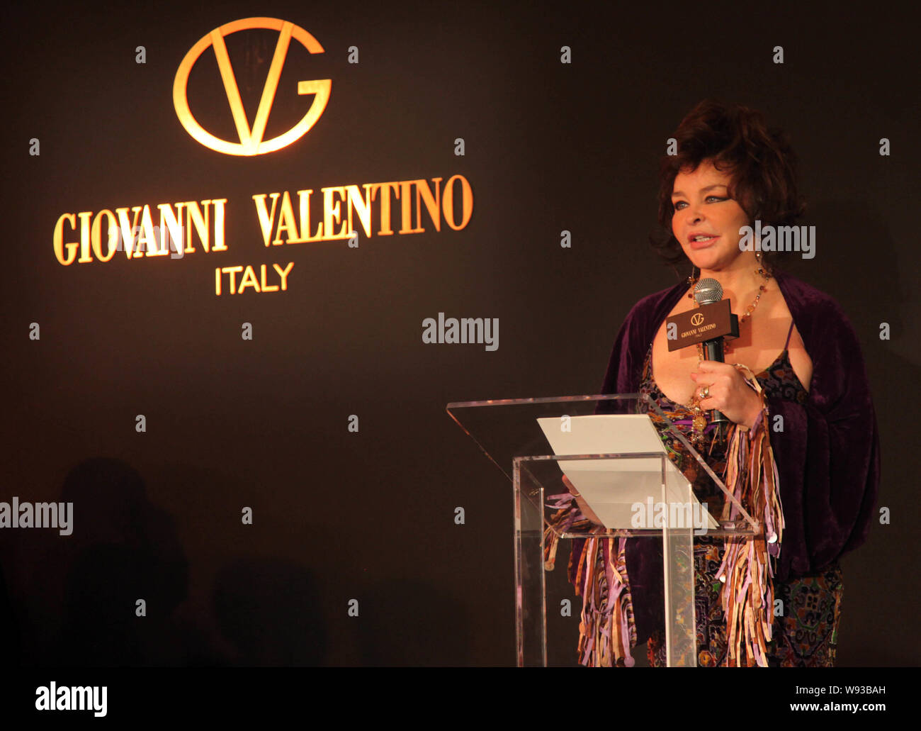 Annabella Valentino The Wife Of Italian Fashion Designer Giovanni Valentino Speaks At A Fashion Show Of Giovanni Valentino In Shanghai China 3 Dec Stock Photo Alamy
