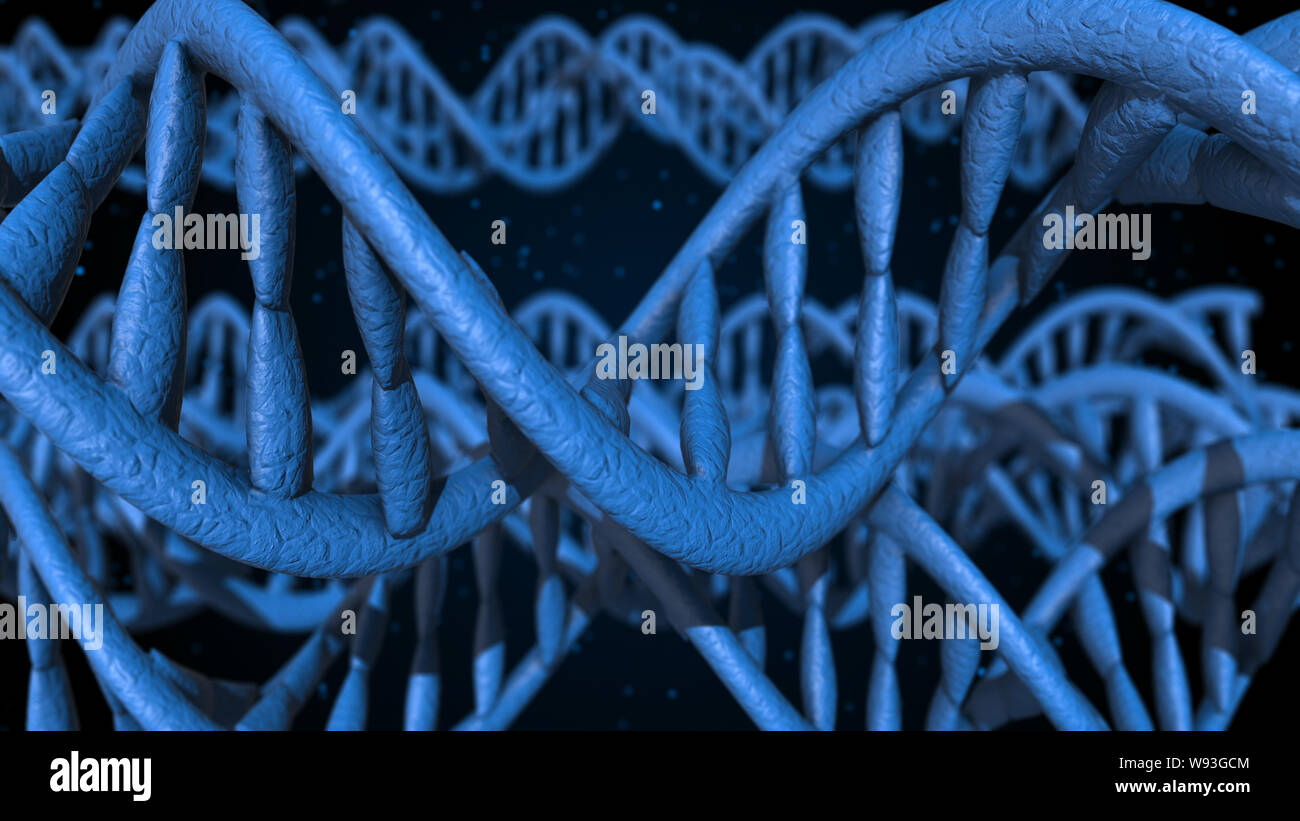 DNA. Abstract 3d polygoal wireframe DNA molecule helix spiral. Medical science background. Stock Photo