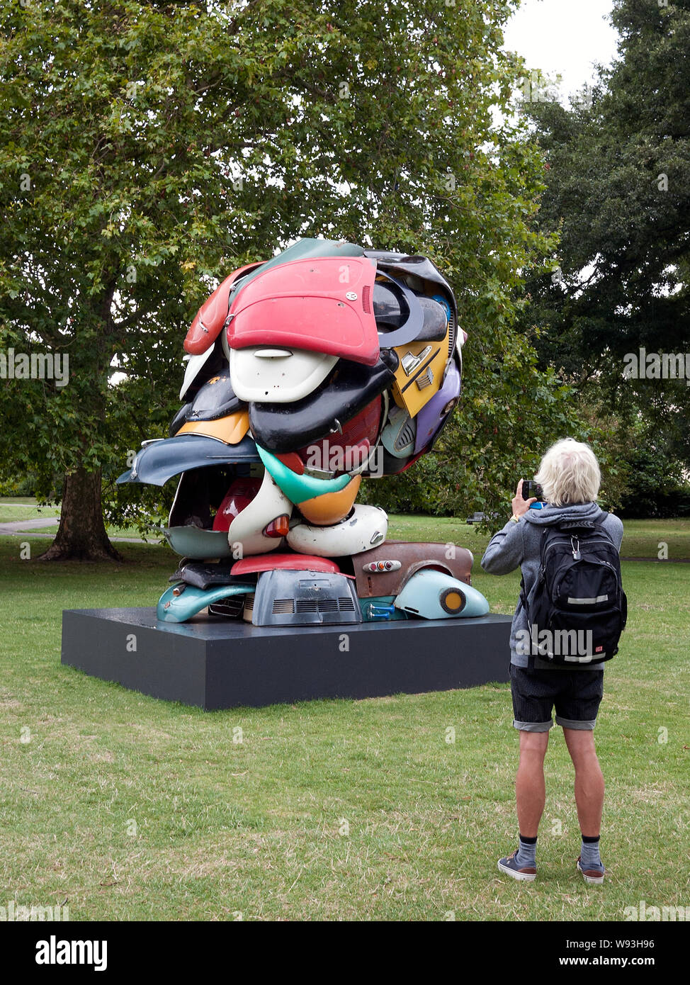 Zak Ove sculpture 'Autonomous Morris' on show in Regents Park London part of Frieze Art show Stock Photo