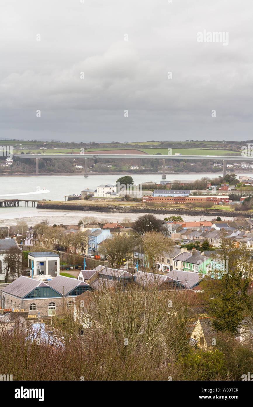 Looking down on town of Pembroke Dock. Pembrokeshire, Wales, United Kingdom, portrait, winter. Stock Photo