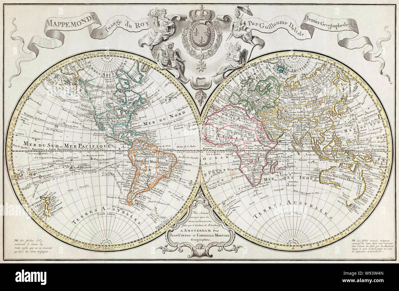 World Map.  A Dutch edition of Guillaume De L'Isle's double hemisphere map of the World first published in Paris in 1720.  It includes marked routes of major explorers.  This edition, dating from the second half of the 18th century incorporates new geographical knowledge, unknown at the time of the original publication. Stock Photo