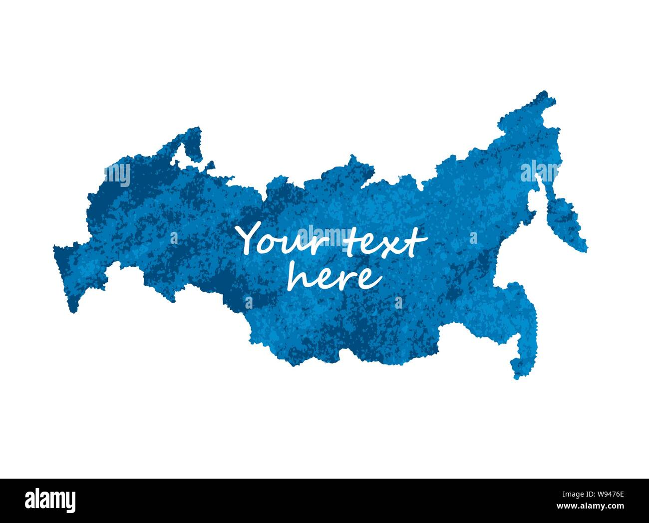 Map russia blue isolate object on white Stock Vector