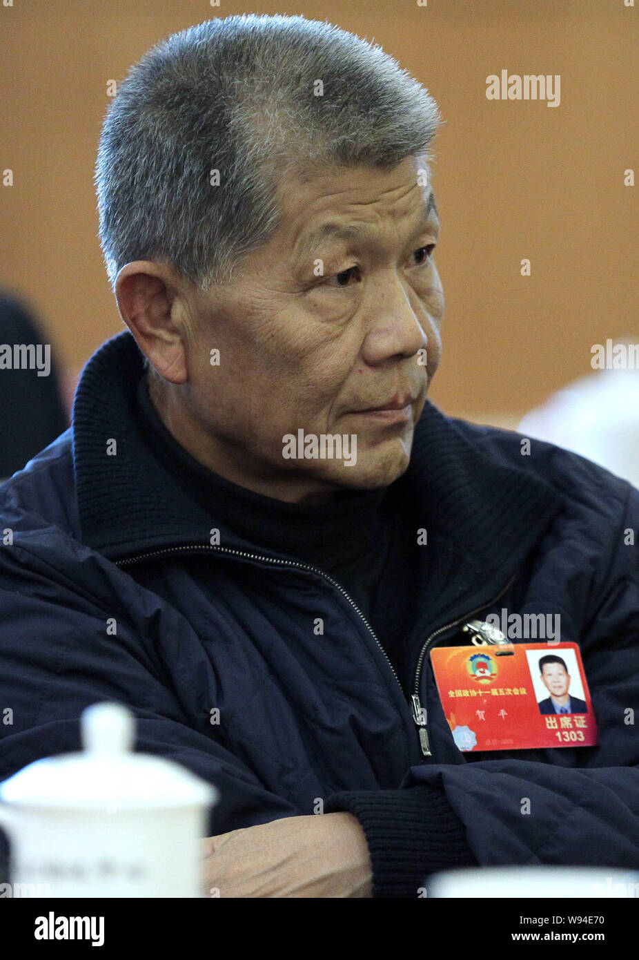 He Ping, Chairman and President of China Poly Group and husband of Deng Rong, youngest daughter of former Chinese leader Deng Xaoping, attends a panel Stock Photo
