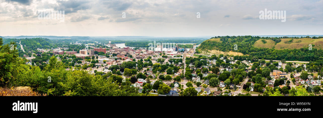 Multi-shot panorama looking east across Red Wing and the Mississippi Stock Photo