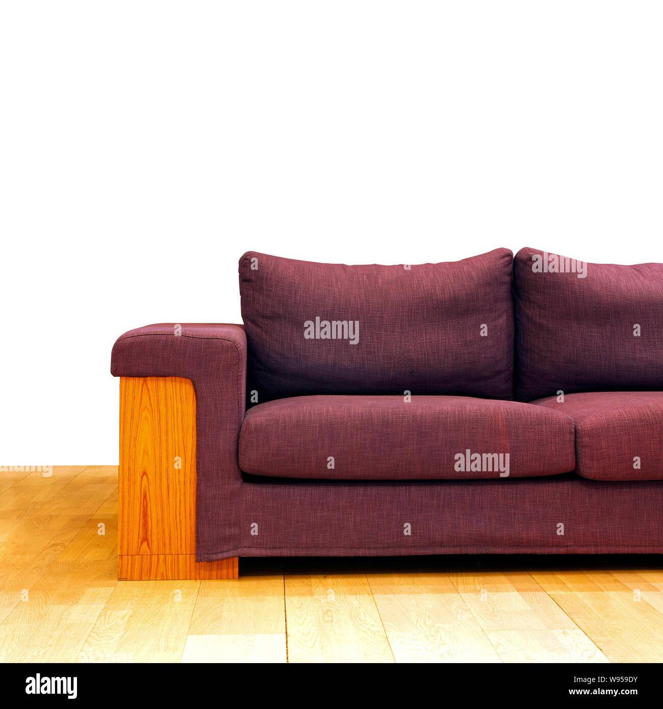 Part of big purple linen sofa furniture Stock Photo ...