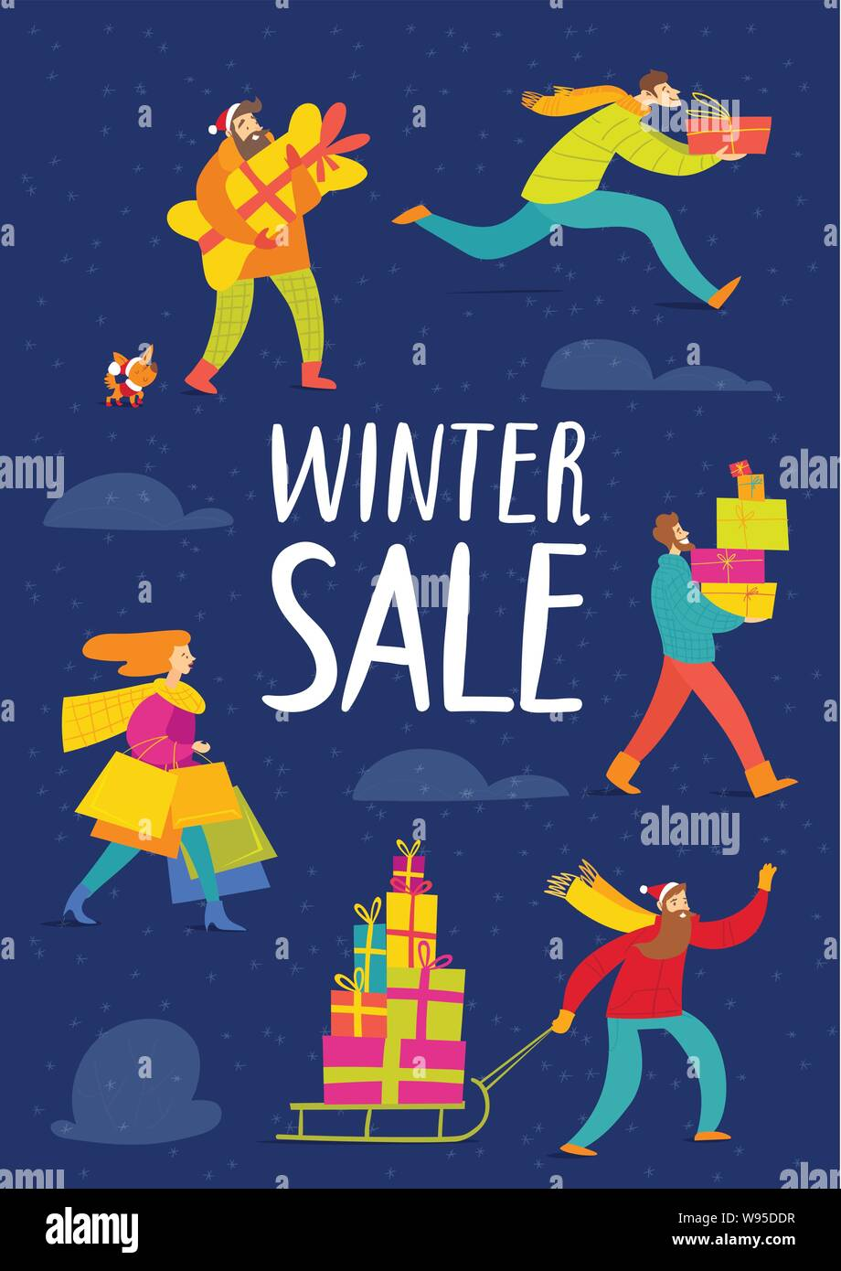 Winter sale poster with vector people going shopping Stock Vector