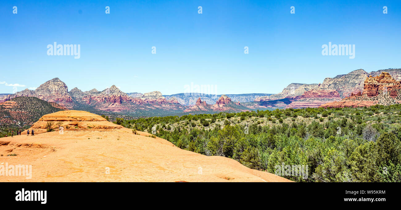 Sedona Arizona southwest US of America. Panoramic view of red orange color rock formations, desert sandstone landscape, clear blue sky, sunny spring d Stock Photo
