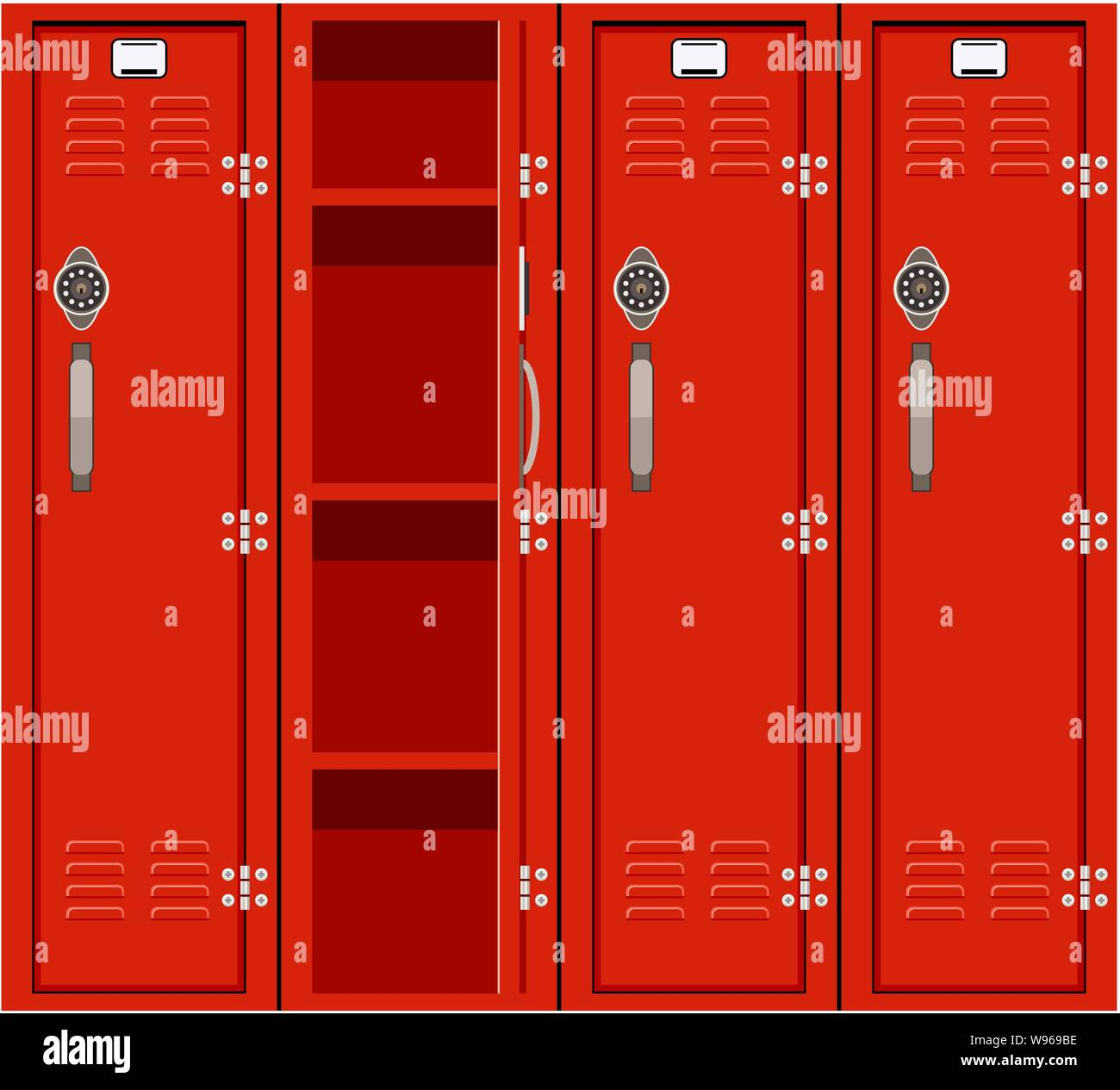 Vector Red School Lockers For Education Background Illustration Of Metal School Locker Opened And Closed Stock Vector Image Art Alamy