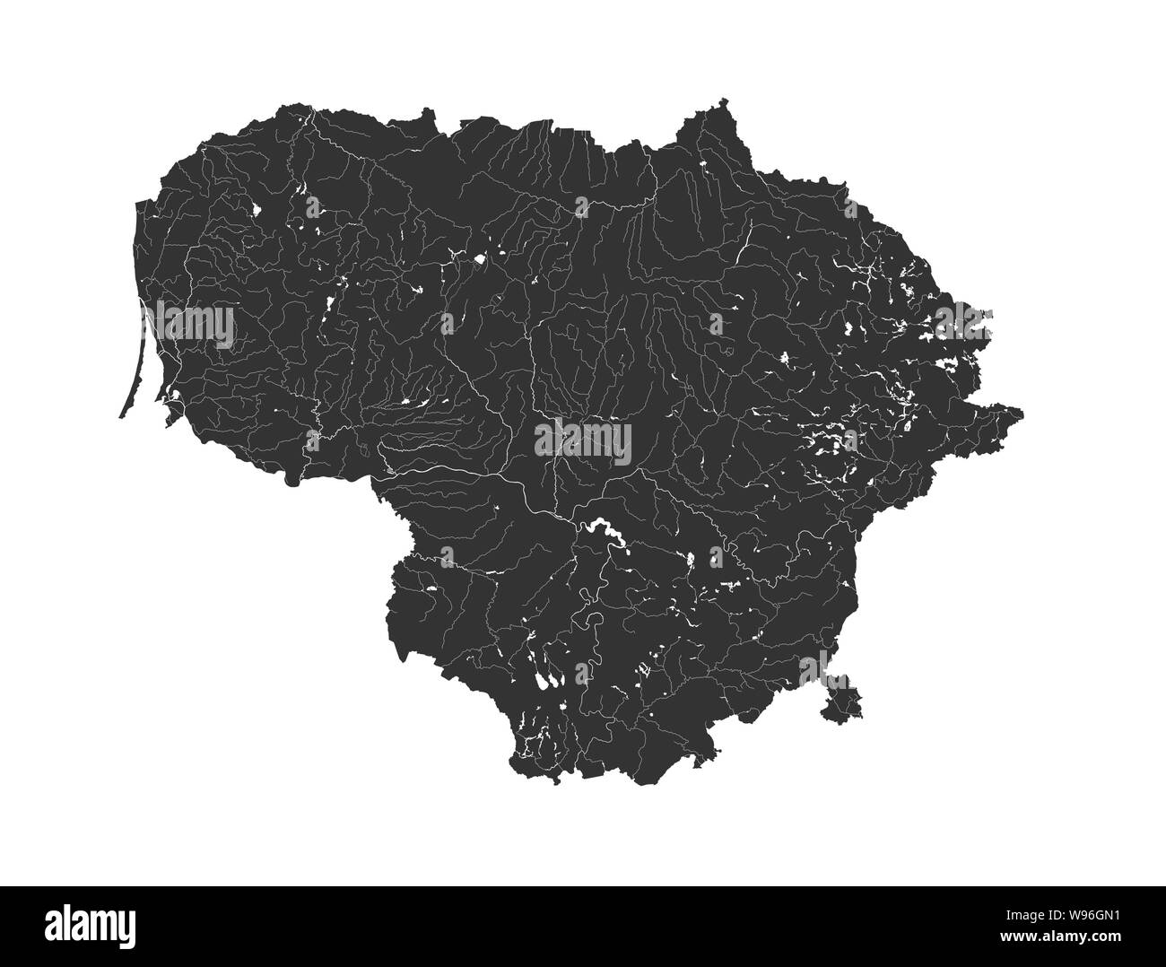 Baltic states - map of Lithuania. Hand made. Rivers and lakes are shown. Please look at my other images of cartographic series - they are all very det Stock Vector