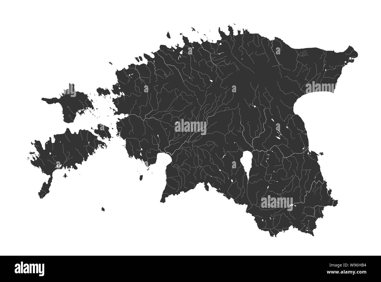 Baltic states - map of Estonia. Hand made. Rivers and lakes are shown. Please look at my other images of cartographic series - they are all very detai Stock Vector