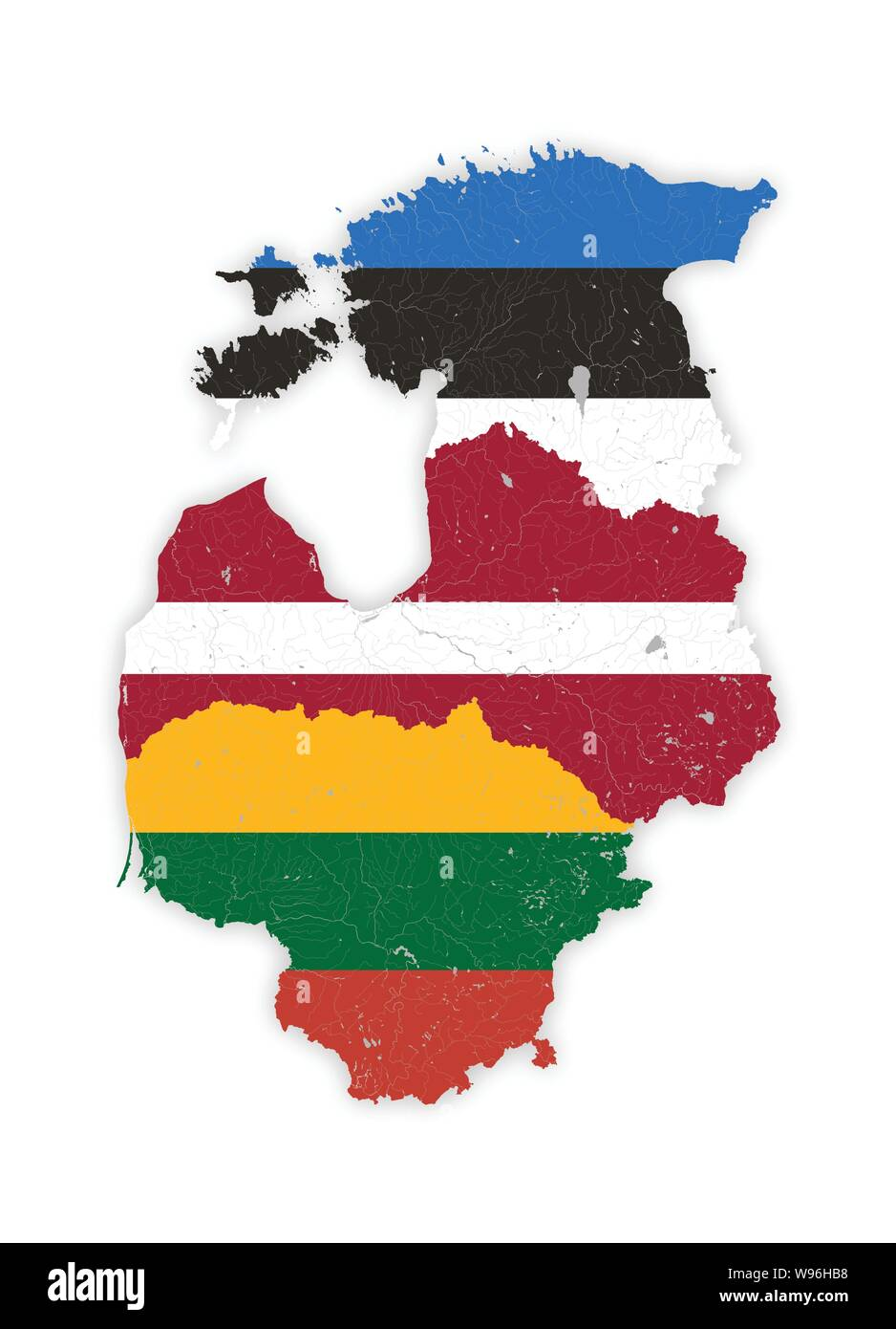 Map of Baltic states with rivers and lakes in colors of the national flags of Baltic states. Please look at my other images of cartographic series - t Stock Vector