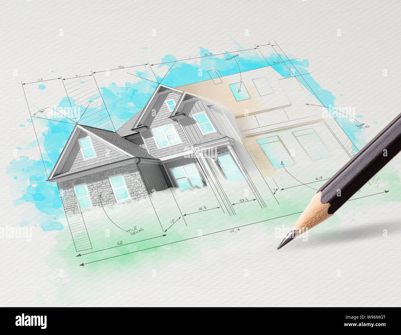 Drawing Colored House Plan Concept Stock Photo 263835288