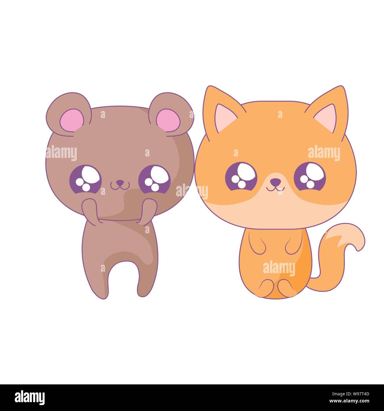 Cute Bear With Fox Baby Animals Kawaii Style Vector Illustration