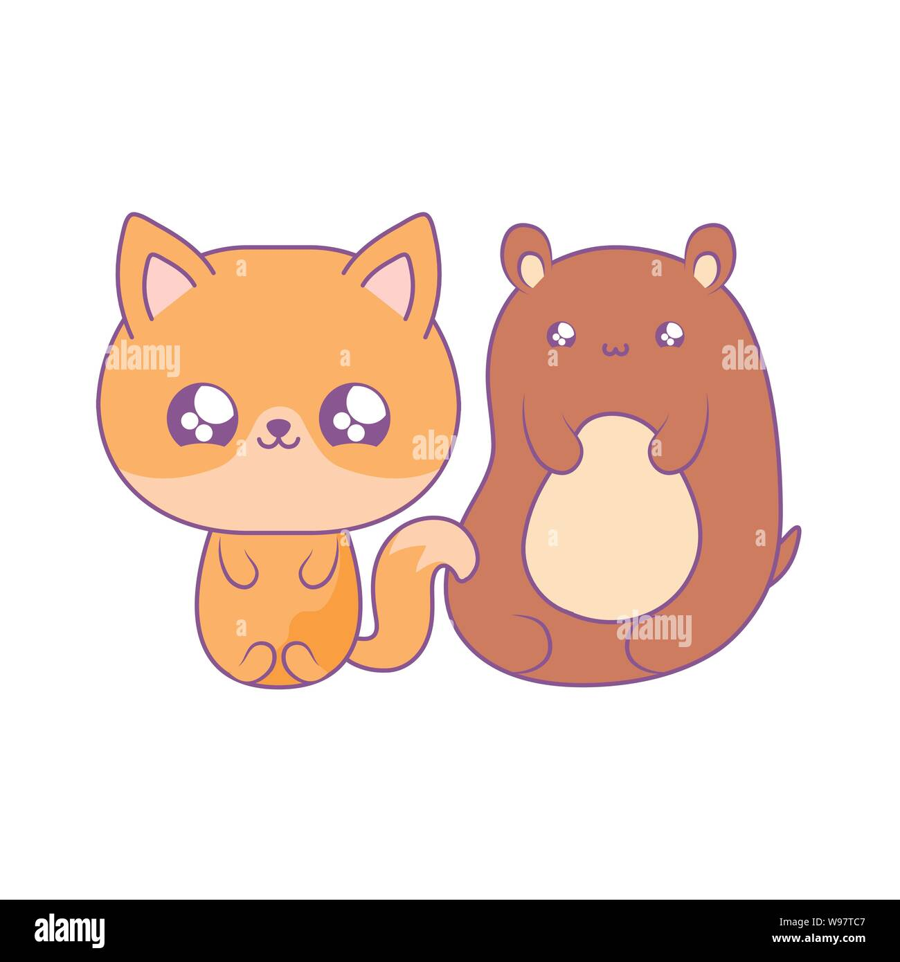Cute Bear With Fox Baby Animals Kawaii Style Vector Illustration Design Stock Vector Image Art Alamy