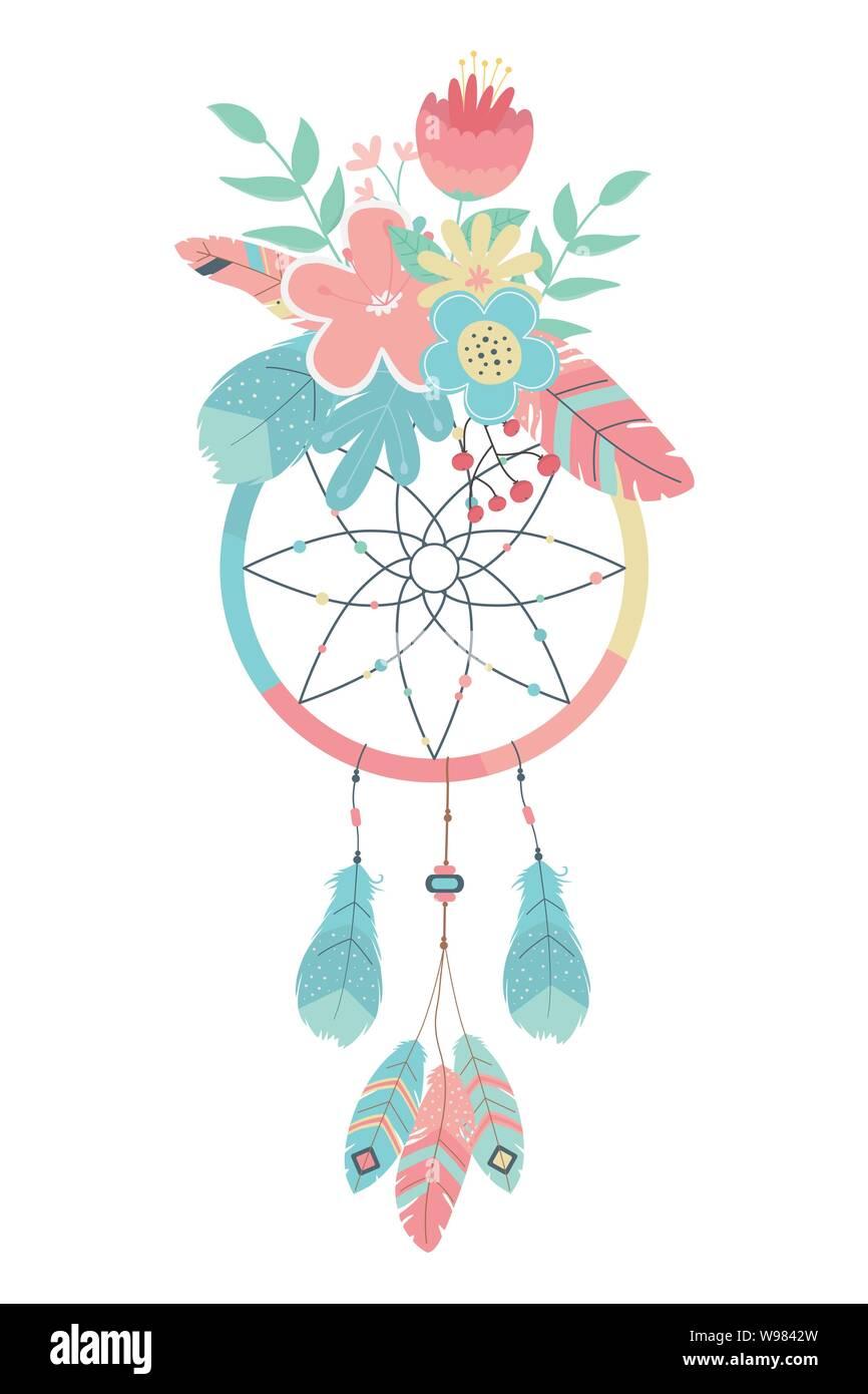 Boho Dream Catcher Design Bohemic Decoration Vintage