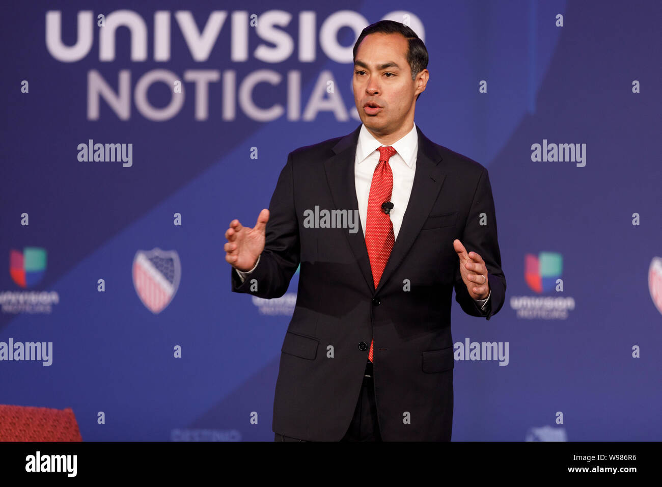 Julian Castro, former secretary of Housing and Urban Development (HUD) and 2020 Democratic presidential candidate, speaks at an event Stock Photo