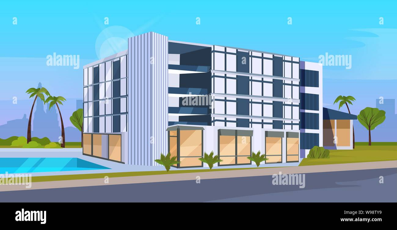 Modern Hotel Office Building Exterior With Large Panoramic Windows Commercial Business Center Design Cityscape Background Flat Horizontal Stock Vector Image Art Alamy