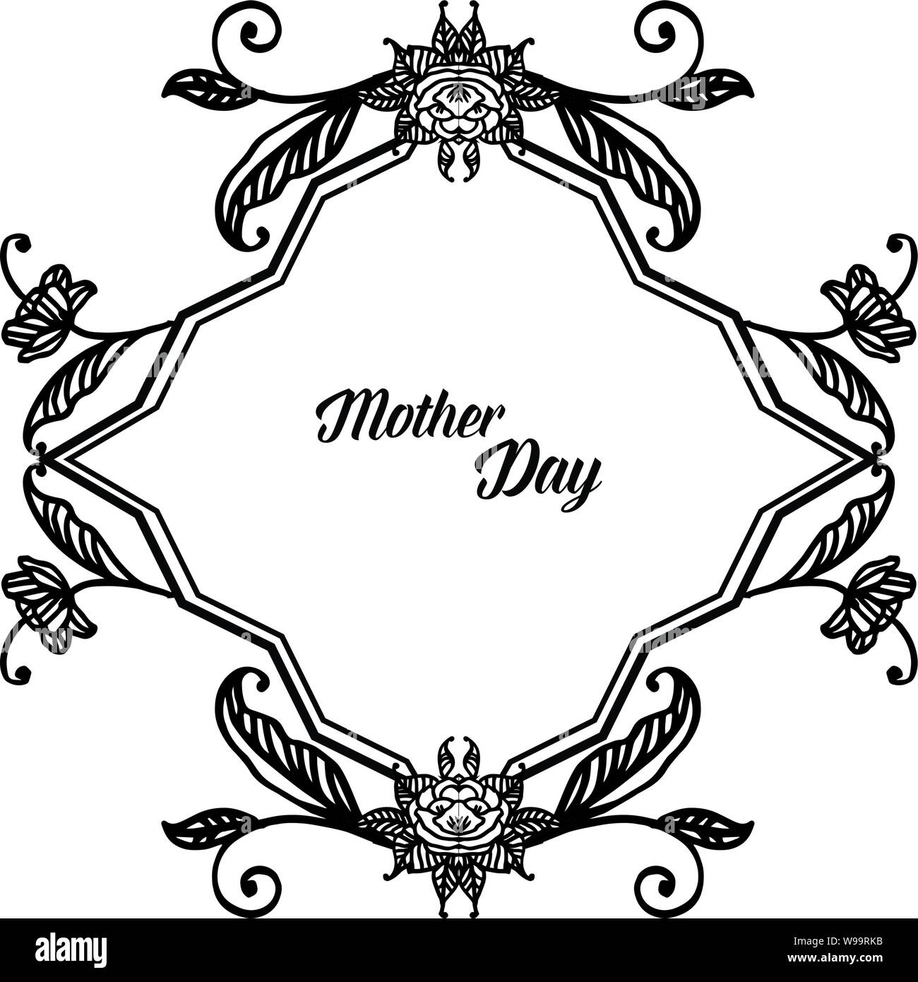 Design Celebration Card Mother Day With Wallpaper Of Cute Flower Frame Vector Illustration Stock Vector Image Art Alamy