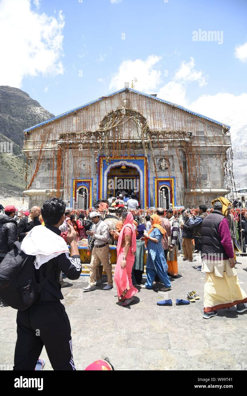 Holy Hindu Temple of Lord Shri Kedarnath Shankar Bholenath Temple 2019 view in Chamoli/Rudraprayag District , Uttrakhand , India , Asia Stock Photo