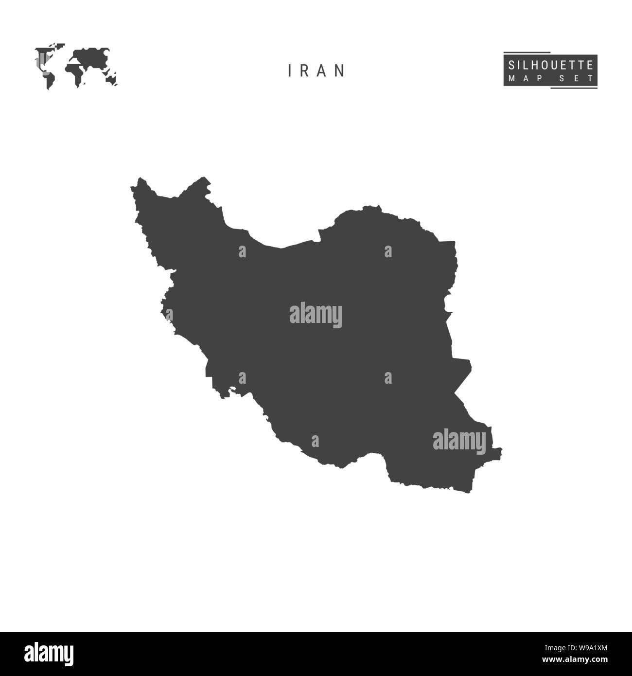 Iran Blank Vector Map Isolated on White Background. High-Detailed Black Silhouette Map of Iran. Stock Vector