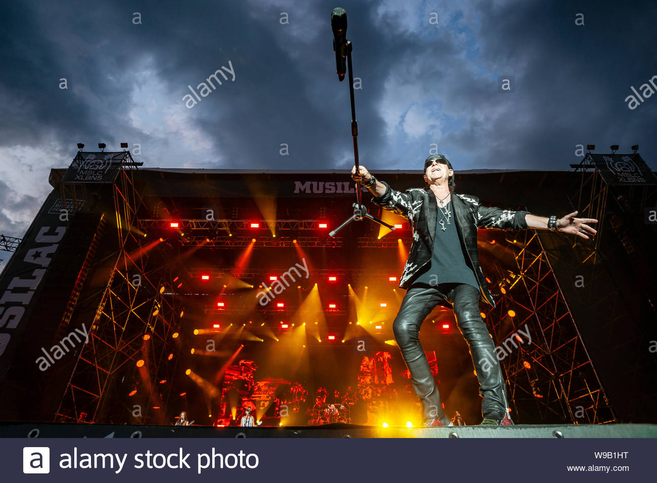 Scorpions : Klaus Meine (lead vocals) performing live at Musilac summer festival in Aix-les-Bains (France) in 2019 Stock Photo