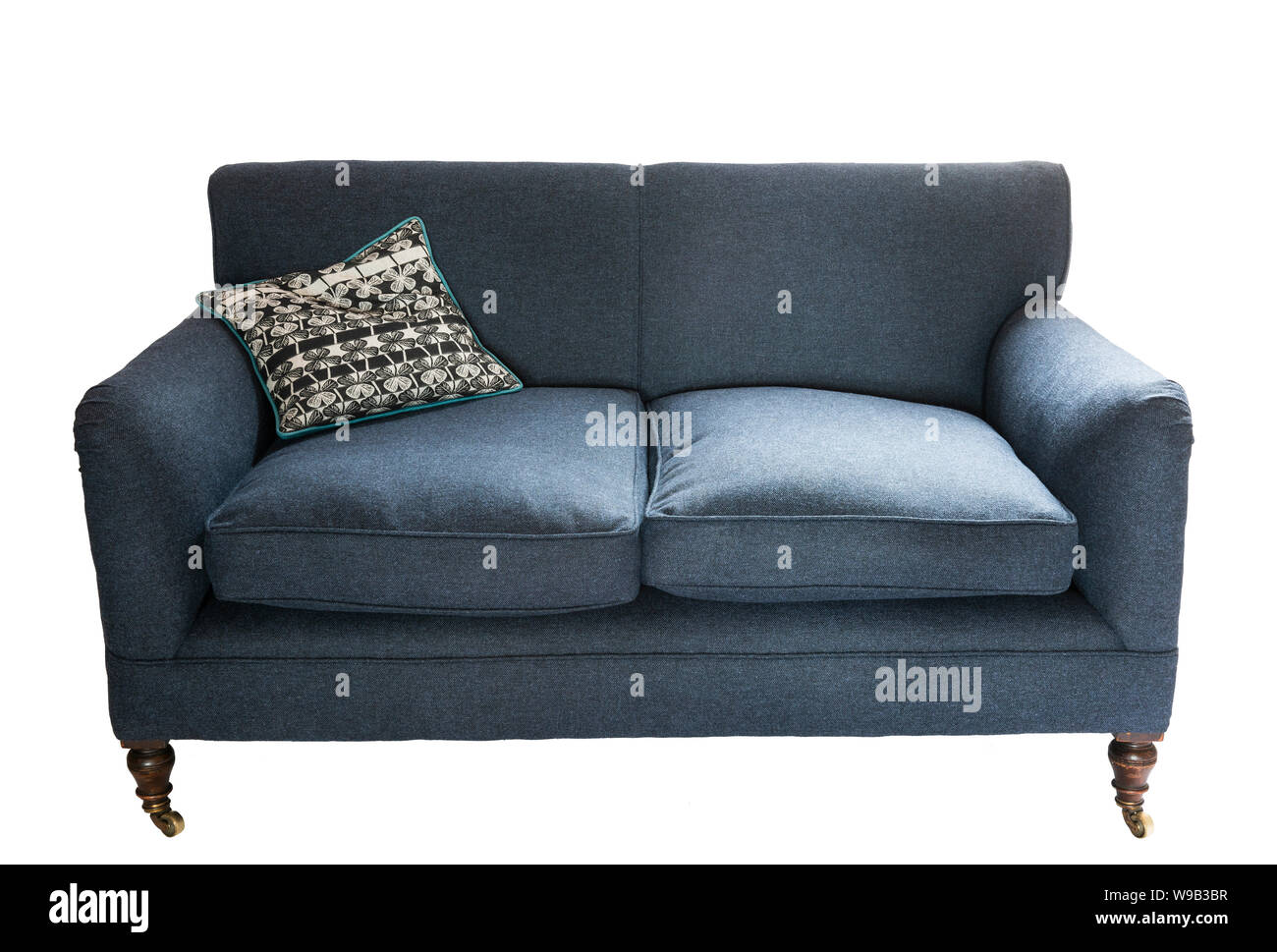 Newly re-upholstered Victorian two seat sofa Stock Photo