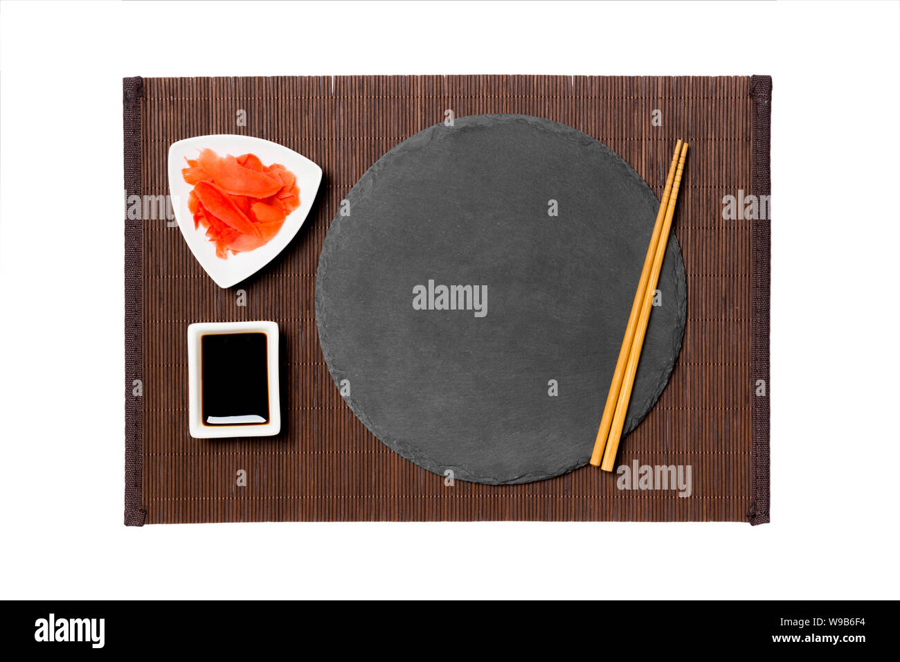 Emptyround Black Slate Plate With Chopsticks For Sushi