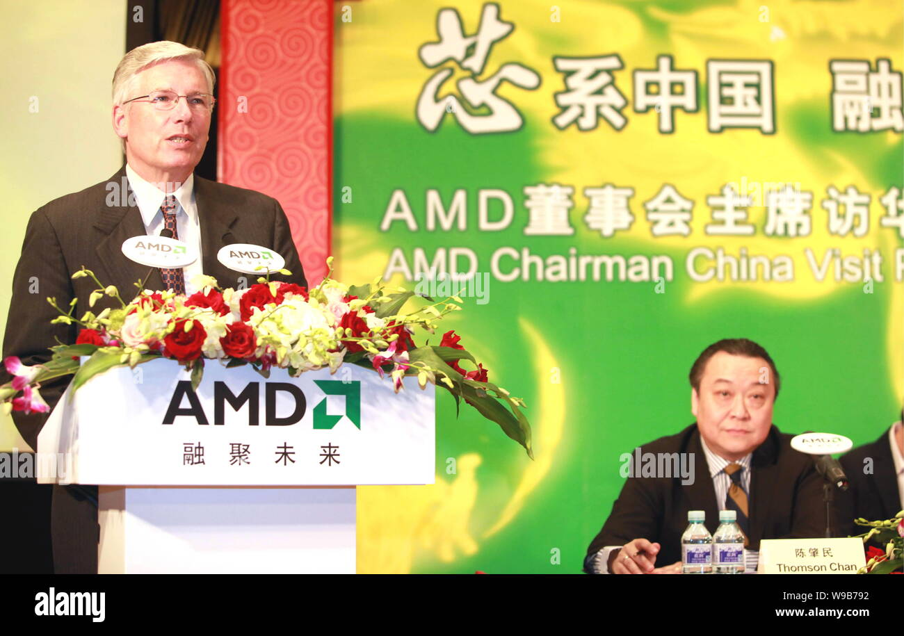Bruce Claflin Chairman Of The Board Of Advanced Micro Devices Inc Amd Speaks At A Press Conference In Beijing China October 13 2010 Amd Chi Stock Photo Alamy