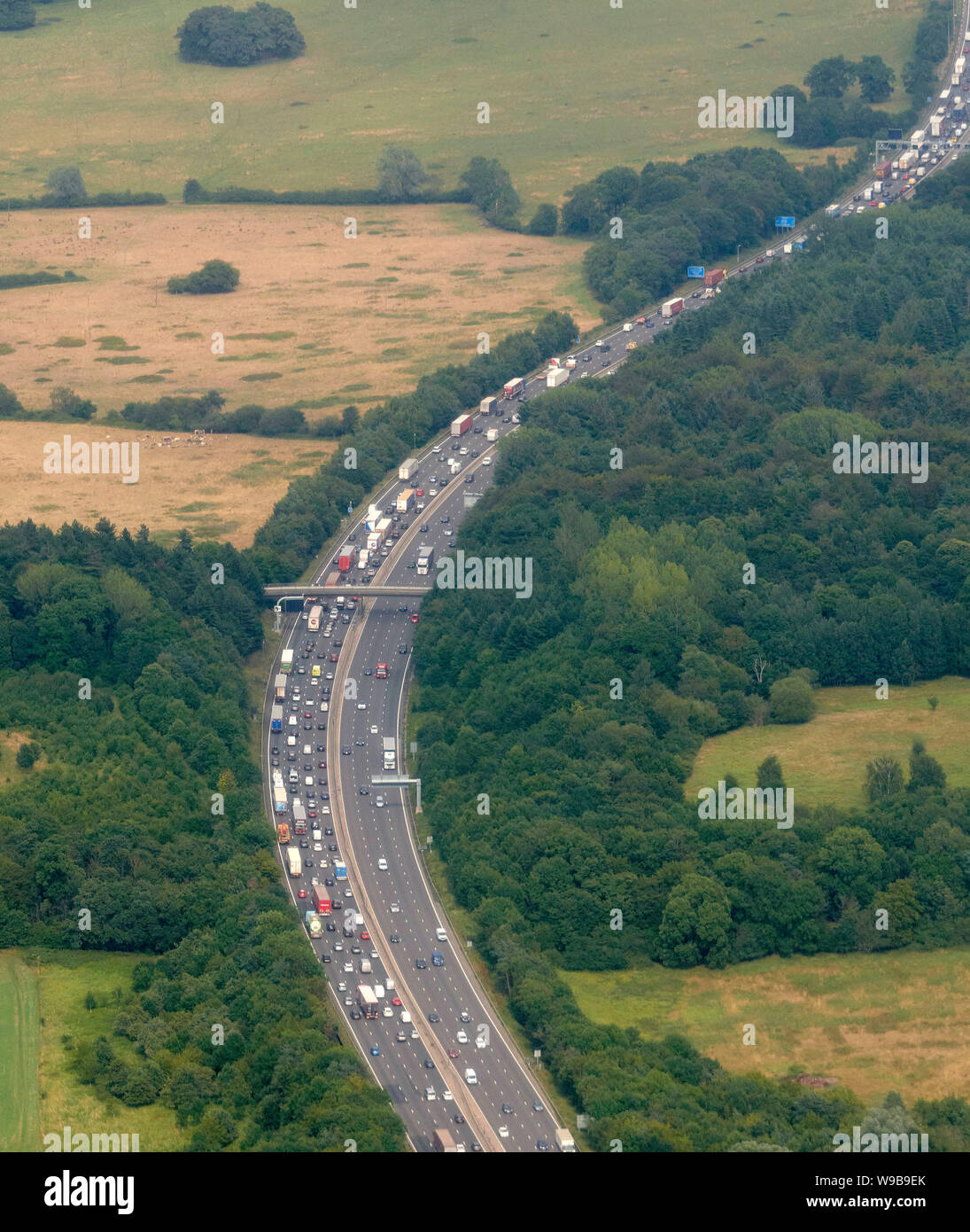 An aerial view of heavy traffic on the M25, Essex, South East England, UK Stock Photo