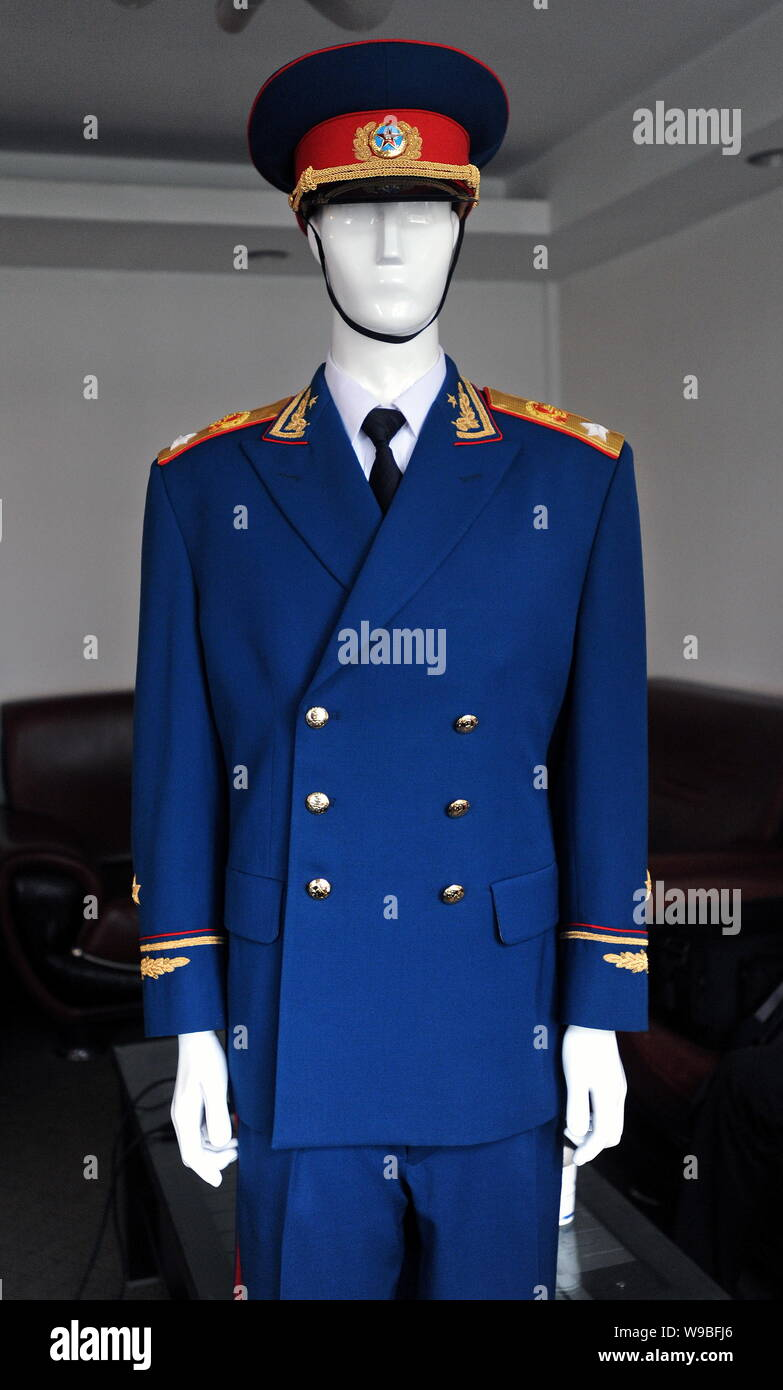 --File-- View of a service uniform produced by Jihua Group in Nanjing, east Chinas Jiangsu Privince, August 21, 2009.   Chinas biggest military supply Stock Photo